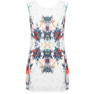View Item White Geo Print Mini Dress
